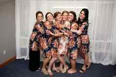 Dark Blue Wedding Theme Ideas Real life Sample of Floral bridesmaids robes made with fabric pattern A12. This is a unique bridesmaids gift idea - Perfect photo prop for the getting ready time on your big day as well as a practical gift which can be used by the bridesmaids long time after the wedding. Robes like these can also be used as spa robes, lounge wear, they are also commonly referred to as kimono crossover robe. These robes are also ideal for bridal shower, wedding favors, bridal…
