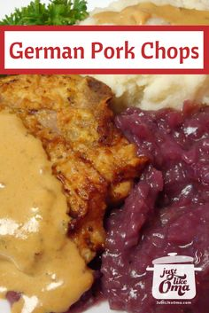 German Pork Chops Recipe made Just like Oma ✔️ ❤️ These German pork chops, seasoned with mustard, are a traditional recipe that teaches how to cook pork chops. German Pork Chops served with mashed potatoes, red cabbage and mustard sauce Cabbage Recipes, Pork Chop Recipes, Meat Recipes, Cooking Recipes, Polish Recipes, Recipies, Polish Food, Shrimp Recipes, Bratwurst