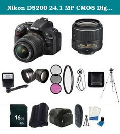 Nikon D5200 24.1 MP CMOS Digital SLR with 18-55mm f/3.5-5.6 AF-S DX VR Lens (Black) - International Version (No Warranty) + EN-EL14 Replacement Li-on Battery + 16GB SDHC Class 10 Memory Card + 52mm Wide Angle Lens + 52mm 2.2x Telephoto Lens + 52mm 3 Piece Filter Kit + 52mm UV Filter + Full Size Tripod + External Flash + Digital Carrying Case + SDHC Card USB Reader + 6pc Starter Kit + Memory Card Wallet + Lens Cap Keeper + Bonus Nikon DVD! Bundle. Nikon D5200 Digital SLR Camera Includes…
