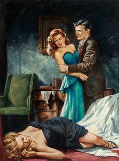 Murder for Madame'; Adam Knight, 1952 Covert art: Harry Schaare #harryschaare #pulpart Signet #920 http://fineart.ha.com/itm/pulp-pulp-like-digests-and-paperback-art/harry-schaare-american-1922-2008-murder-for-madame-paperback-cover-1952oil-on-board1925-x-1425-in-sight-total-2-items-/a/5185-72283.s