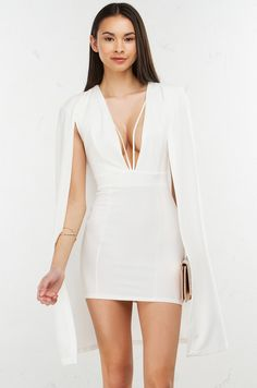 Edge of Beauty Cape Detail Dress in White  (Get the look at www.shopAKIRA.com ) #ShopAKIRA #dress #bodycondress #capedress #KimK #whitedress #sexydress #white #dresses #ootn