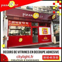 Décors de vitrines en découpe adhésive pour Pizza West à Saint Cloud (92)
