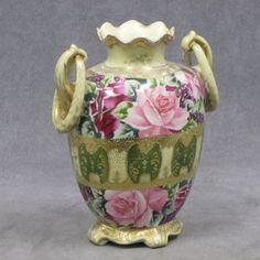 Nippon floral vase