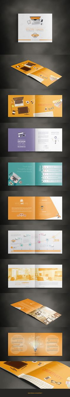Creative Company Profile on Behance                                                                                                                                                                                 More                                                                                                                                                                                 More Company Profile Template, Company Profile Design, Page Layout Design, Book Layout, Company Portfolio, Portfolio Design, Brochure Inspiration, Design Inspiration, Company Brochure