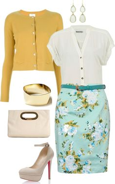 blue floral pencil skirt, mustard cardigan with white patent accessories