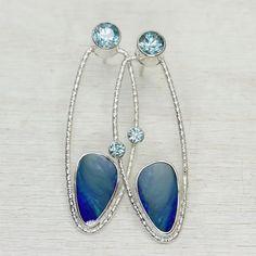 Opal and Zircon Art Deco Earrings