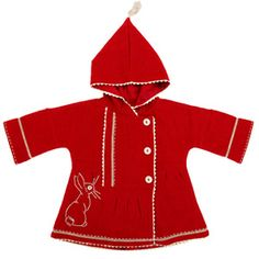 Belle & Boo - Boo Crimson Coat  100% merino wool coat, with embroidered Boo. Ric rac detail & cute tassle on hood. Lined with repeat Boo print.