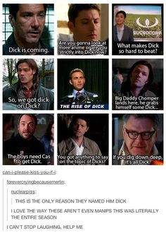 The entirety of Season 7 is dick jokes. All the dick jokes. Supernatural Season 7, Supernatural Memes, Supernatural Pictures, Castiel, Crowley, Impala 67, Comic, Super Natural, Superwholock