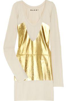 Marni  Metallic-print cotton-jersey tunic