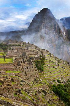 Machu Picchu, Peru   Machu Picchu ... in the foreground with Huaynu Picchu in the background.