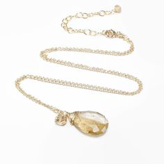 Golden Rutilated Quartz pendant, Champagne Quartz, Citrine 14k gold filled necklace, Gift for Her, Bridesmaid, Wedding, Birthday Jewellery by JewelleryHaven on Etsy https://www.etsy.com/sg-en/listing/278443966/golden-rutilated-quartz-pendant
