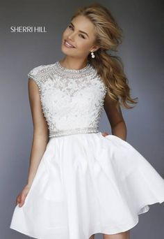 Sherri Hill 32317 white with illusion neck and lace and open back