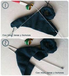 Antes de continuar voy a hacer una aclaración en cuanto a la nomenclatura. Al tejer con dos agujas para mí una vuelta se compone de dos pasadas, es decir, una vuelta sería trabajar todos los puntos de la aguja dos veces para volver al principio. Así que mis 31 vueltas equivalen a 62 pasadas. Knitting For Kids, Baby Knitting Patterns, Loom Knitting, Knit Or Crochet, Crochet Crafts, Drops Design, Baby Kimono, Baby Vest, Wrap