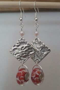 Murano red & white glass bead earrings by MaudeArt on Etsy
