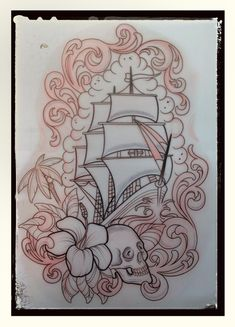 Ship Skull and Flower Tattoo