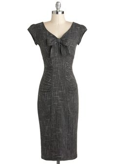Sheath a Lady Dress by Stop Staring! - Grey, Bows, Ruching, Work, Cap Sleeves, Long, Sheath / Shift, V Neck, Vintage Inspired, Pinup, Top Rated