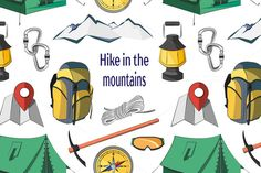 Hike in the mountains pattern by Netkoff on @creativemarket