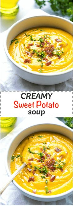 Creamy Sweet Potato Soup Recipe - easy and effortless to make, this soup is light and nutritious, perfectly paired with a sandwich or salad for a healthy lunch or dinner. Kid friendly and ready in under 30 minutes. via @cookinglsl