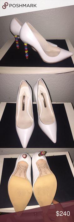 Sophia Webster White Sparkle Pumps 👠 Gorgeous Sophia Webster white leather pumps, size 37 (7). Too small for me so I only wore once. Purchased at Intermix for $590. Cobbler put on Dr. Scholls sole protector as well. Sophia Webster Shoes Heels