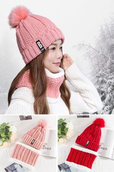 e1333fe11c9d73 Fleece Lined Cable Knitted Pompom Beanie w Infinity Scarf