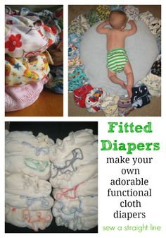 Instructions and tips on making your own fitted diapers.  Includes snap templates and links to free fitted diaper patterns, both one-size and newborn.
