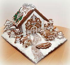 chaloupka z perníku - 3D Gingerbread, 3 D, Desserts, Deserts, Dessert, Postres, Food Deserts