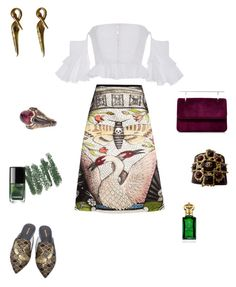 """""""Swan lake"""" by futuraocculto ❤ liked on Polyvore featuring Gucci, Mara & Mine, Fleur du Mal, Chanel, Clive Christian, purple, red, swan and darkgreen"""