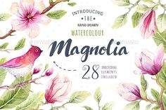 This set of high quality hand painted watercolor magnolia elements. Boho style. Perfect graphic for DIY, wedding invitations, gree