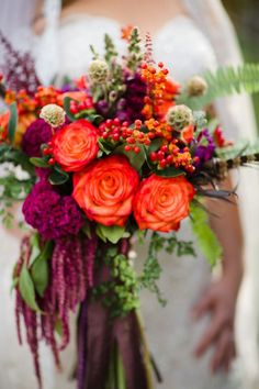 orange and puprle wedding bouquet