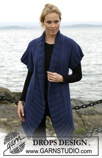 Free knitting patterns and crochet patterns by DROPS Design Drops Design, Tweed, Knit Jacket, Sweater Jacket, Knitting Patterns Free, Free Pattern, Diy Clothes, Clothes For Women, Gilet Long