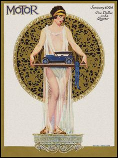 "Vintage ""Motor"" magazine, Jan. 1924. Cover by Coles Phillips. At 1.25, it was an expensive magazine."