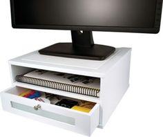 Victor® Wood Desk Organizer, Monitor Stand, Pure White