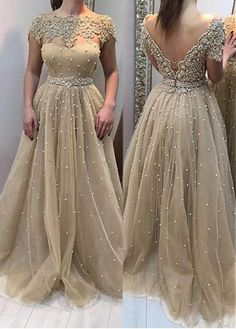 Wedding Dresses Ball Gown, Formal Tulle Bateau Neckline A-line Evening Dress With Beaded Lace Appliques DressilyMe Brown Prom Dresses, Formal Dresses, Wedding Dresses, A Line Evening Dress, Evening Dresses, Ball Dresses, Ball Gowns, Unconventional Wedding Dress, Hijab Style