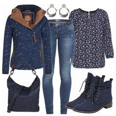 ebb5fefdbf02 Tolles Freizeitoutfit aus Naketano jacke, ONLY Jeans und einer gemusterten  Bluse...