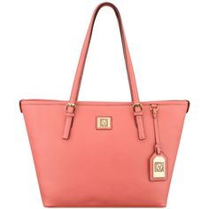 Anne Klein Perfect Medium Tote ($79) ❤ liked on Polyvore featuring bags, handbags, tote bags, coral crush, anne klein handbags, pocket tote, anne klein purses, metallic handbags and red tote bag