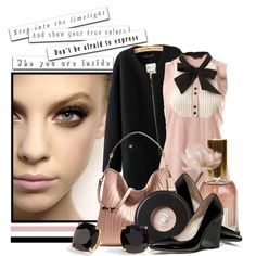 """""""Who You Are Inside"""" by queenrachietemplateaddict on Polyvore - pale pink & black, very Parisian"""