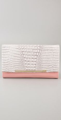 Diane von Furstenberg Adele Embossed Crocodile Clutch! Lovely for a light Spring look! #fashion #clutch