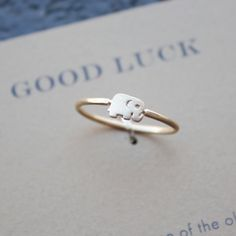 dogeared - good luck elephant ring in gold dipped