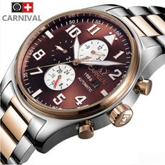 88.98$  Watch here - http://alijif.worldwells.pw/go.php?t=32620274326 - 2016Carnival fashion automatic mechanical luxury brand watches military men's waterproof luminous full steel male watch relogio