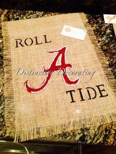 Alabama Roll Tide Burlap Garden Flag