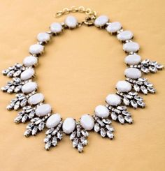 Zara Statement Crystal J Crew Bloggers Grey Crystal Necklace NEW   eBay