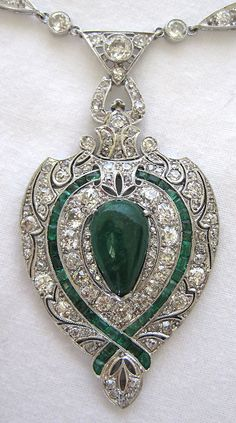 Art Deco Platinum Diamond & Emerald Necklace