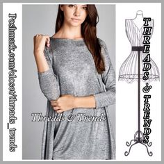 Silver Metallic Shimmer Tunic Show your style & elegance this holiday season in this gorgeous soft to the touch silver 2 tone metallic with shimmer swing tunic. So unique and simple yet elegant. Pair with red, black or green skinnie's or metallic leggings. Made of a poly/spandex blend. Size S, M, L Threads & Trends Tops Tunics