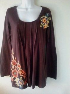 Bella Carra Tunic M Cotton Embroidered Brown Shirt Dress Boho Hippie Casual  LS #BellaCarra #TunicDress #Casual