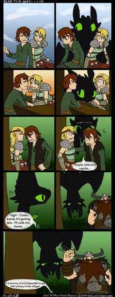 Hilarious comic. Tip to all you parents out there. If you want to mess up your kid's dates, get a dragon like Toothless. lol