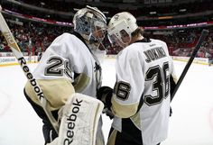 Marc-Andre Fleury and Jussi Jokinen after the win vs. Carolina Loved being there and watching the Pens get the win! Nhl Games, Hockey Games, Hockey Players, Pens Hockey, Ice Hockey, Hockey Stuff, Pittsburgh Sports, Pittsburgh Penguins Hockey, Hurricane Games