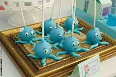 Octopus cake pops at a Little Mermaid birthday party! See more party planning ideas at CatchMyParty.com!