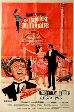 The Happiest Millionaire Fred Mac Murray, Greer Garson,Lesley Ann Warren and Tommy Steele Disney Live Action Films, Disney Movie Posters, Classic Movie Posters, Original Movie Posters, Classic Films, Disney Movies, Cinema Posters, Walt Disney, Old Movies