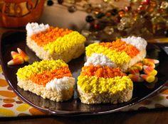 Halloween Candy Corn Rice Krispies Treats