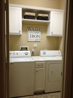 Laundry room - remove the ugly wire shelf and replace w basic white cabinets for a lovely clean look